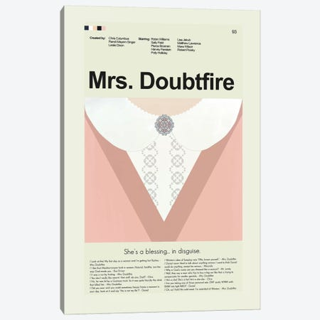 Mrs Doubtfire Canvas Print #PAG61} by Prints and Giggles by Erin Hagerman Canvas Print