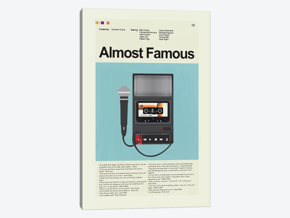 Almost Famous by Prints and Giggles by Erin Hagerman 1-piece Canvas Print