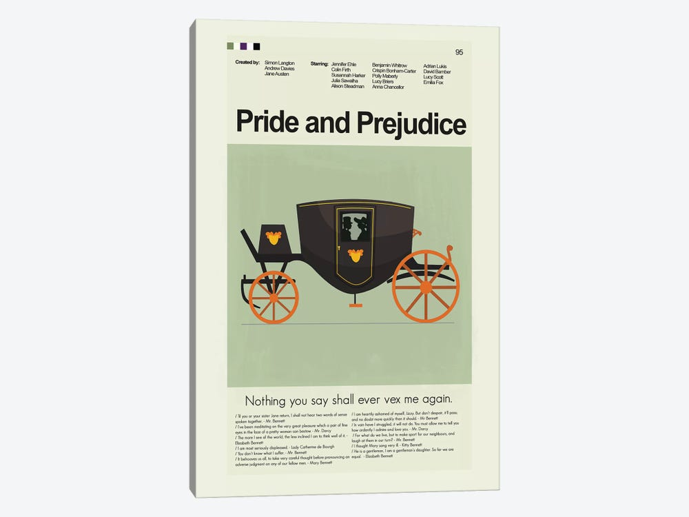Pride And Prejudice BBC '95 by Prints and Giggles by Erin Hagerman 1-piece Canvas Artwork
