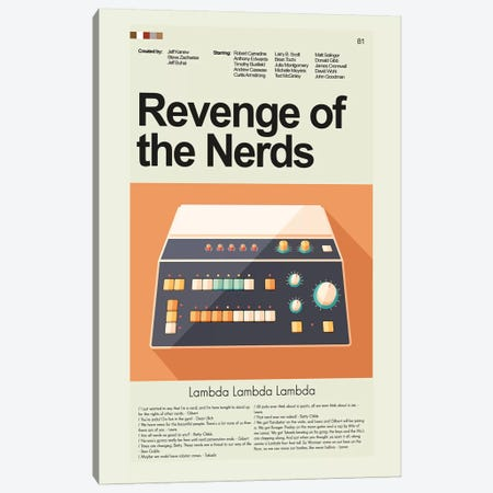 Revenge Of The Nerds Canvas Print #PAG75} by Prints and Giggles by Erin Hagerman Art Print