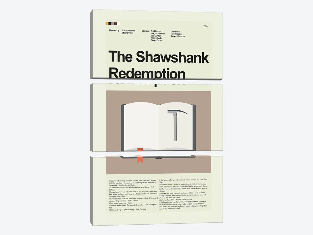 Shawshank Redemption by Prints and Giggles by Erin Hagerman 3-piece Canvas Art