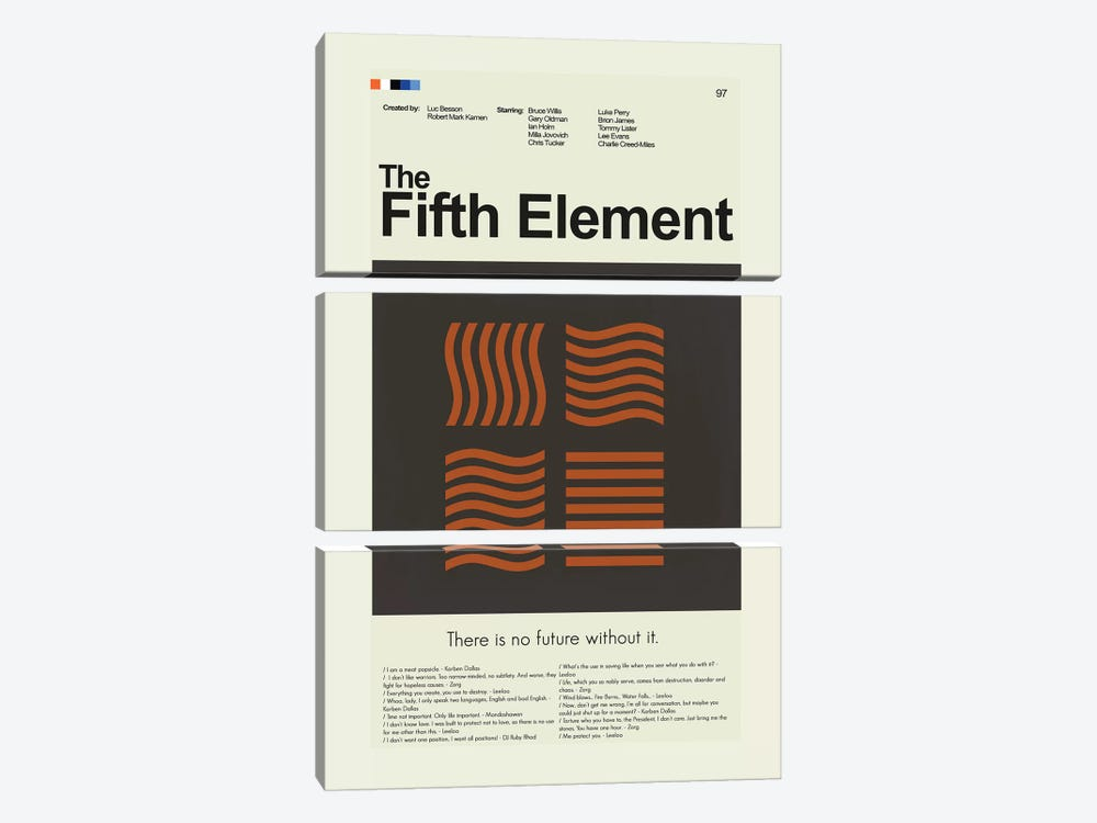 The Fifth Element by Prints and Giggles by Erin Hagerman 3-piece Canvas Wall Art