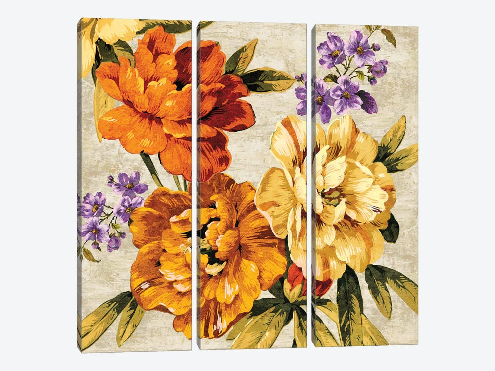 Brilliant Bloom I by Pamela Davis 3-piece Canvas Wall Art