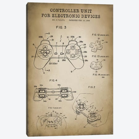 PlayStation Controller Canvas Print #PAT108} by PatentPrintStore Art Print