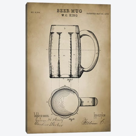 Beer Mug Canvas Print #PAT10} by PatentPrintStore Art Print