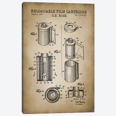 Reloadable Film Cartridge, Beige 3-Piece Canvas #PAT110} by PatentPrintStore Canvas Art