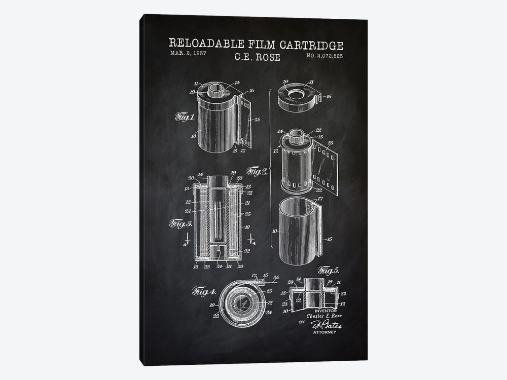 Reloadable Film Cartridge, Black by PatentPrintStore 1-piece Canvas Art Print