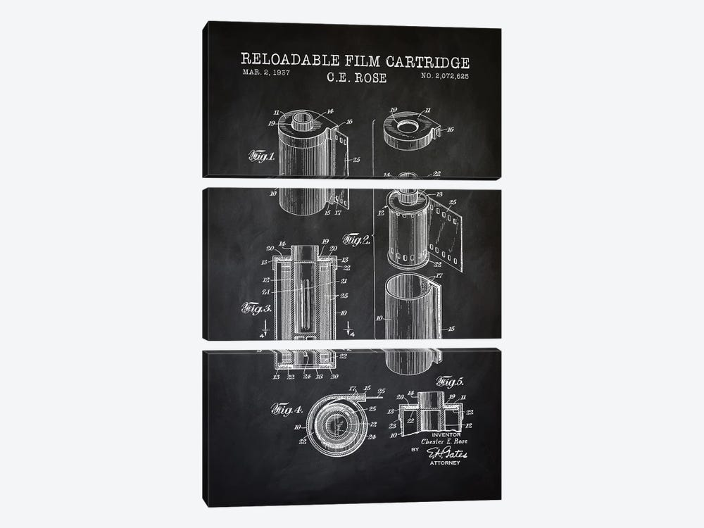 Reloadable Film Cartridge, Black by PatentPrintStore 3-piece Canvas Art Print