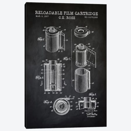 Reloadable Film Cartridge, Black Canvas Print #PAT111} by PatentPrintStore Canvas Wall Art