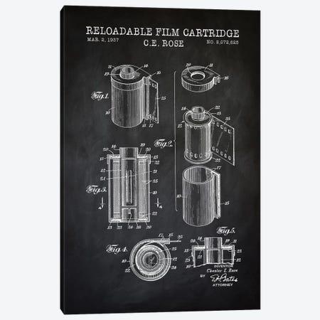 Reloadable Film Cartridge, Black Canvas Print #PAT111} by PatentPrintStore Canvas Wall Art