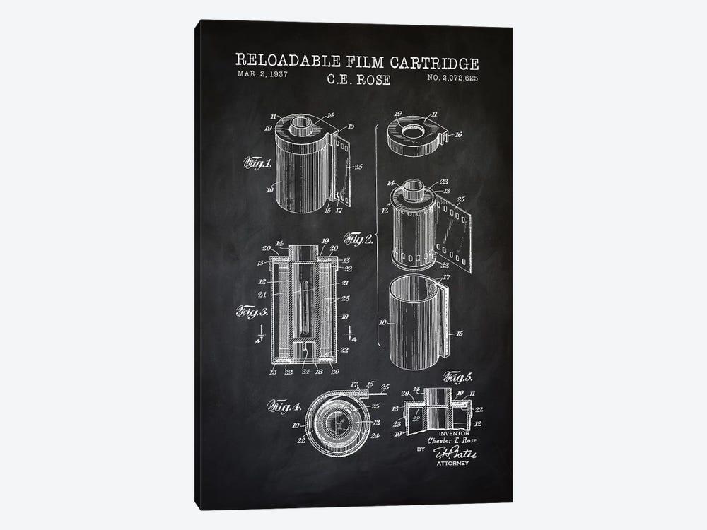 Reloadable Film Cartridge, Black by PatentPrintStore 1-piece Canvas Art Print