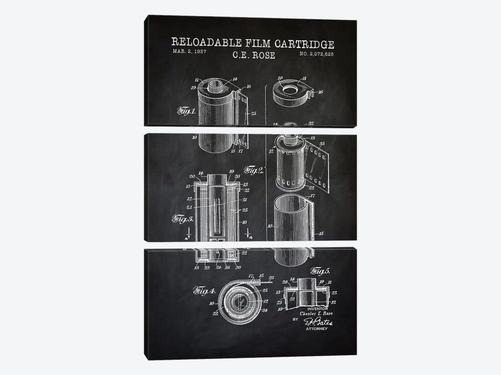 Reloadable Film Cartridge, Black by PatentPrintStore 3-piece Canvas Art Print