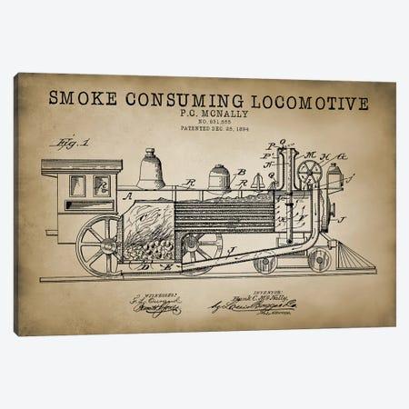 Smoke Consuming Locomotive, 1894, Beige Canvas Print #PAT115} by PatentPrintStore Canvas Art Print