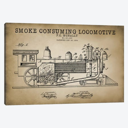 Smoke Consuming Locomotive, 1894, Beige Canvas Print #PAT115} by PatentPrintStore Canvas Art Print