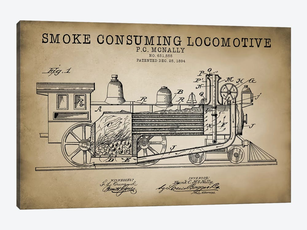 Smoke Consuming Locomotive, 1894, Beige by PatentPrintStore 1-piece Canvas Art Print