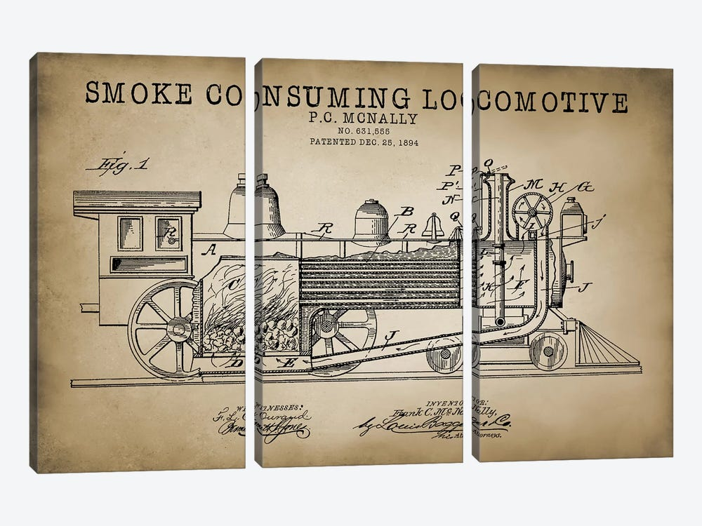 Smoke Consuming Locomotive, 1894, Beige by PatentPrintStore 3-piece Canvas Print