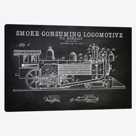 Smoke Consuming Locomotive, 1894, Black Canvas Print #PAT116} by PatentPrintStore Canvas Print