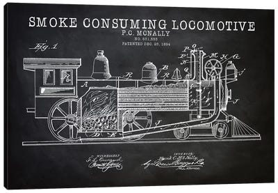 Smoke Consuming Locomotive, 1894, Black Canvas Art Print