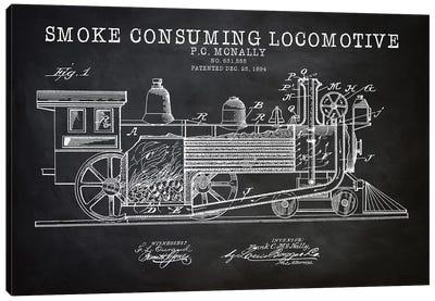 Smoke Consuming Locomotive, 1894, Black Canvas Art Print