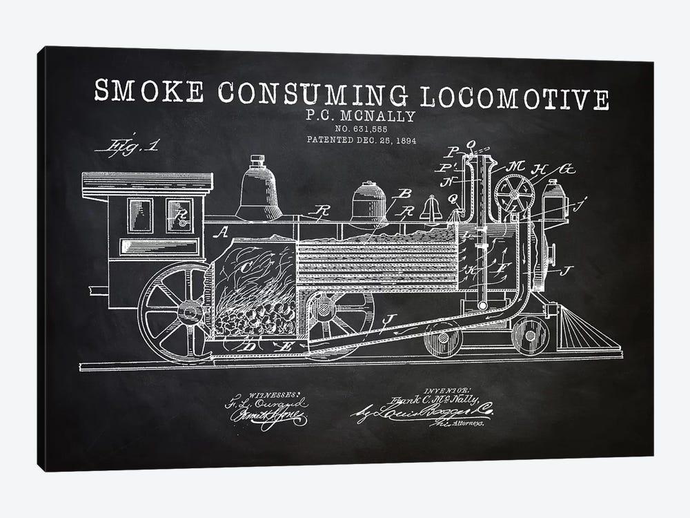 Smoke Consuming Locomotive, 1894, Black by PatentPrintStore 1-piece Canvas Wall Art