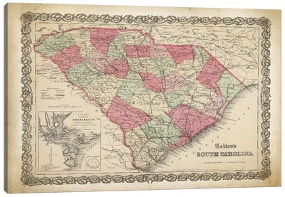 South Carolina Map, 1865 Canvas Art Print