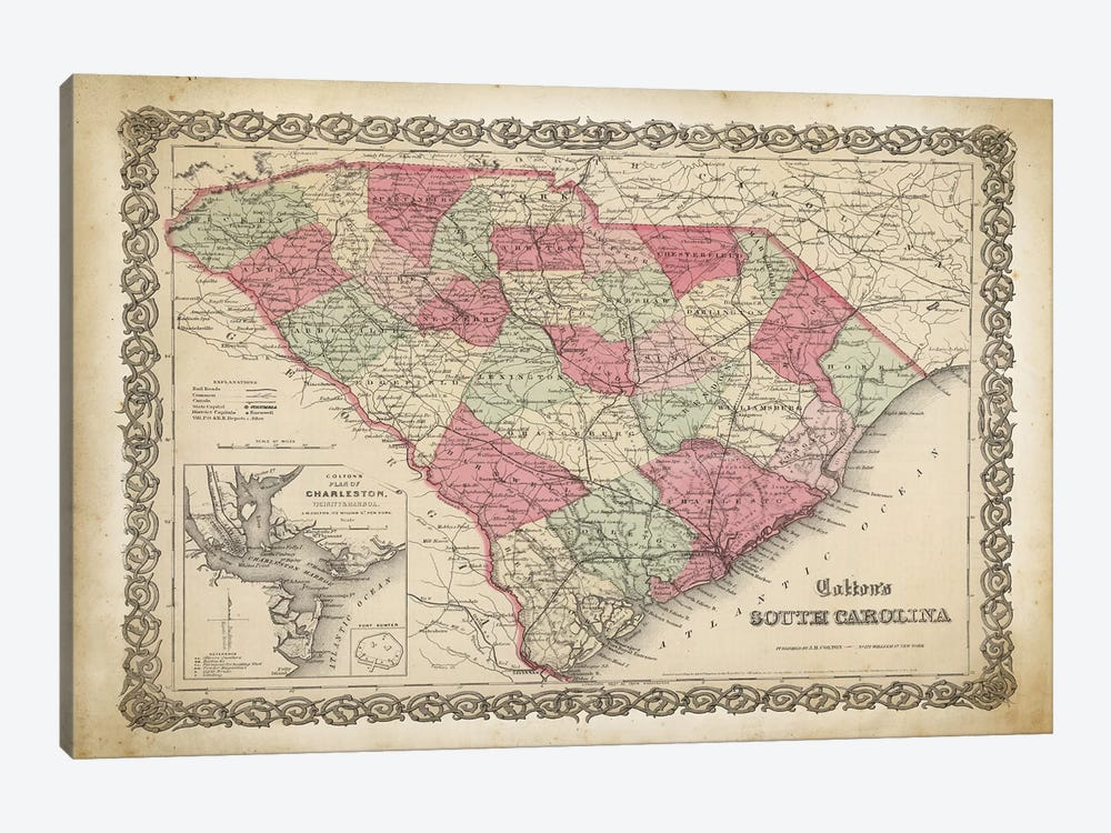 South Carolina Map, 1865 by PatentPrintStore 1-piece Canvas Print