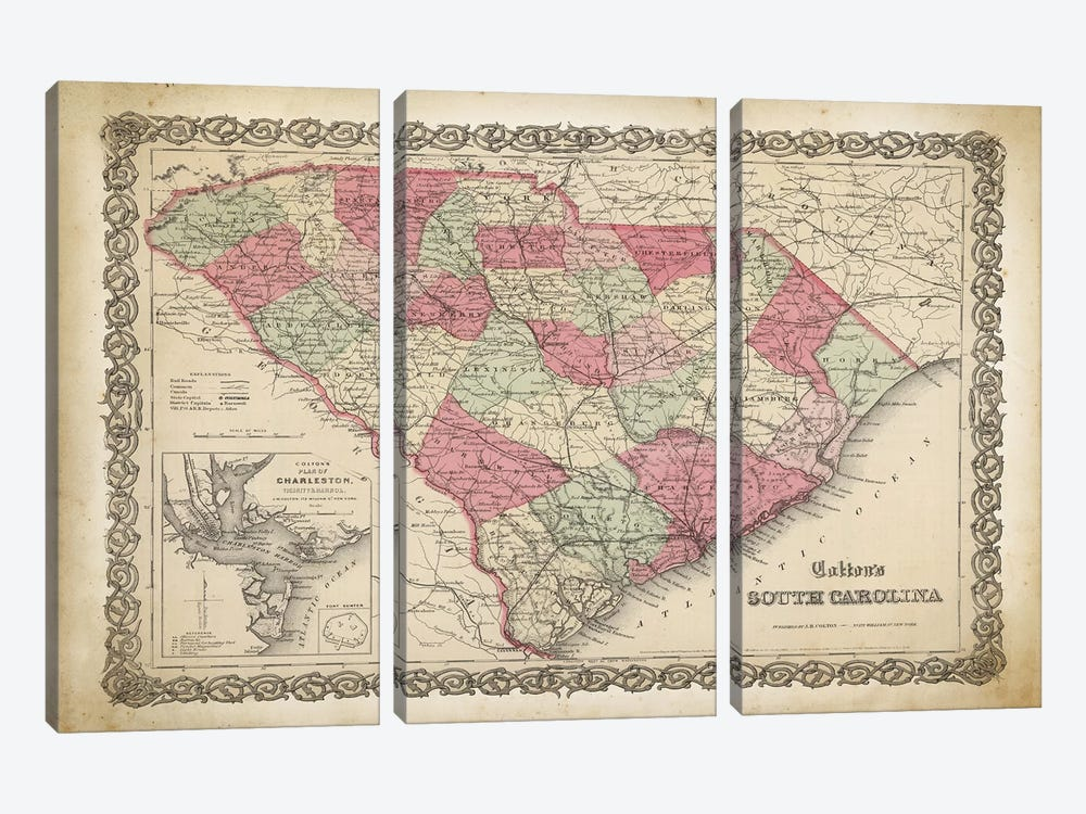South Carolina Map, 1865 by PatentPrintStore 3-piece Canvas Art Print