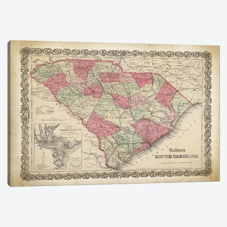 South Carolina Map, 1865 3-Piece Canvas #PAT117} by PatentPrintStore Canvas Art Print