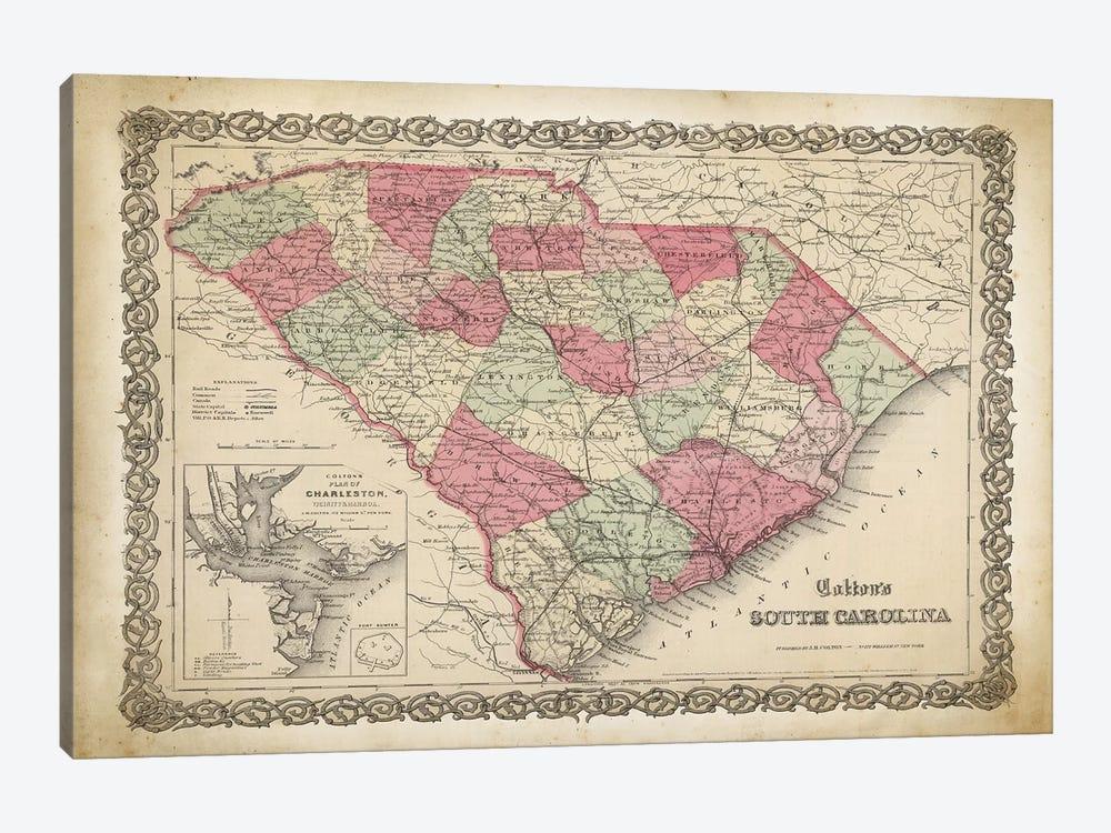South Carolina Map, 1865 by PatentPrintStore 1-piece Canvas Print