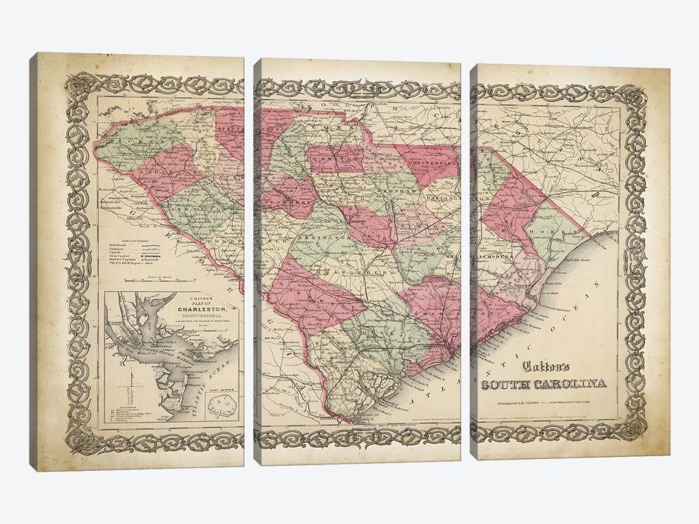 South Carolina Map, 1865 by PatentPrintStore 3-piece Canvas Art Print