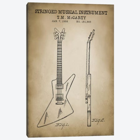 Stringed Musical Instrument Canvas Print #PAT119} by PatentPrintStore Canvas Art