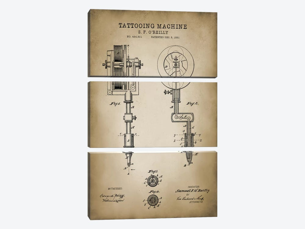 Tattoo Patent by PatentPrintStore 3-piece Art Print