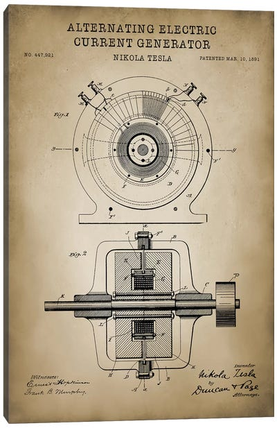 Tesla Alternating Electric Current Generator, Beige Canvas Art Print
