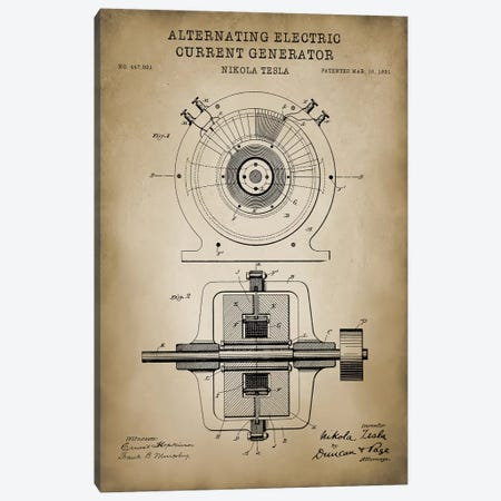 Tesla Alternating Electric Current Generator, Beige Canvas Print #PAT121} by PatentPrintStore Art Print
