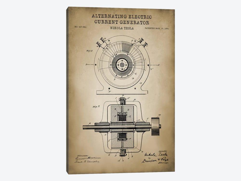Tesla Alternating Electric Current Generator, Beige by PatentPrintStore 1-piece Canvas Art