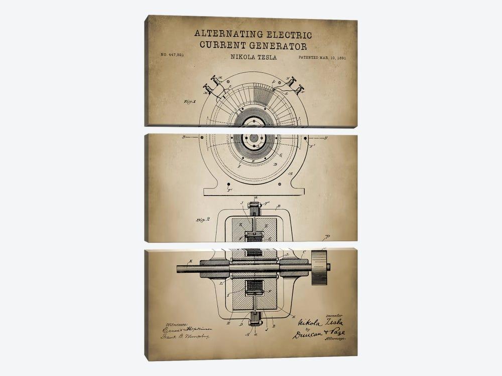 Tesla Alternating Electric Current Generator, Beige by PatentPrintStore 3-piece Canvas Artwork