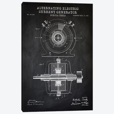 Tesla Alternating Electric Current Generator, Black Canvas Print #PAT122} by PatentPrintStore Art Print