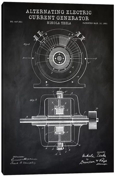 Tesla Alternating Electric Current Generator, Black Canvas Art Print