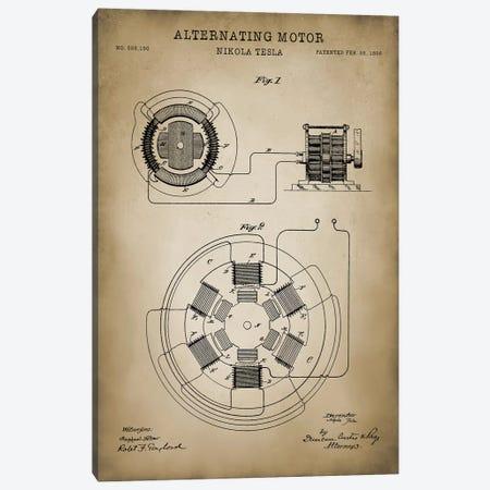 Tesla Alternating Motor 3-Piece Canvas #PAT123} by PatentPrintStore Canvas Print
