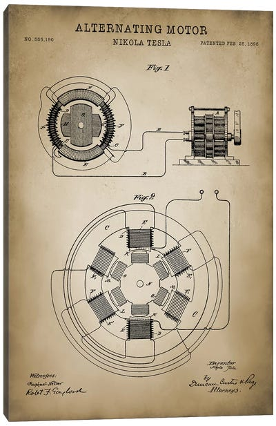 Tesla Alternating Motor Canvas Art Print