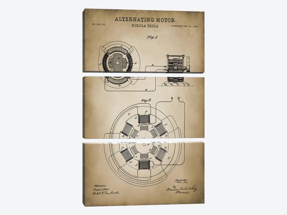 Tesla Alternating Motor by PatentPrintStore 3-piece Canvas Artwork
