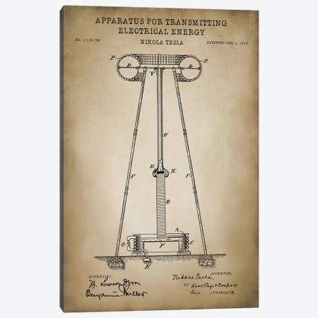 Tesla Apparatus For Transmitting Electrical Energy, Beige Canvas Print #PAT124} by PatentPrintStore Canvas Artwork