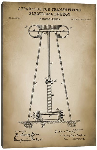 Tesla Apparatus For Transmitting Electrical Energy, Beige Canvas Art Print