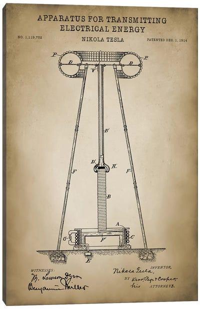 Tesla Apparatus For Transmitting Electrical Energy, Beige Canvas Art Print