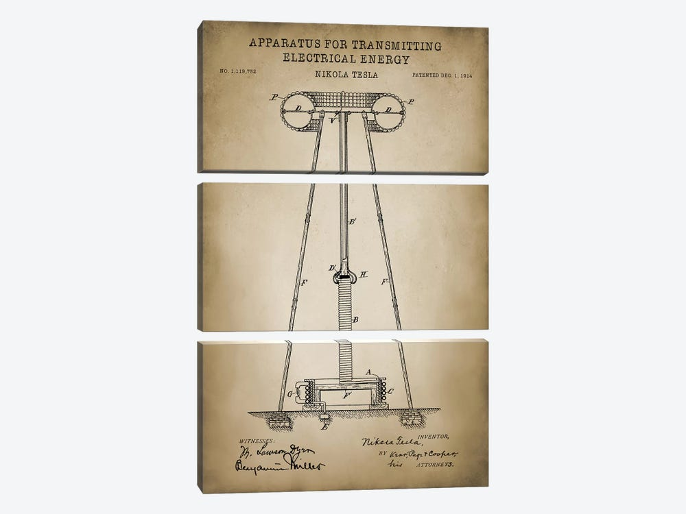 Tesla Apparatus For Transmitting Electrical Energy, Beige by PatentPrintStore 3-piece Canvas Print