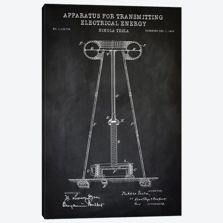 Tesla Apparatus For Transmitting Electrical Energy, Black Canvas Print #PAT125} by PatentPrintStore Canvas Art