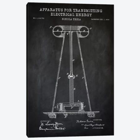 Tesla Apparatus For Transmitting Electrical Energy, Black Canvas Print #PAT125} by PatentPrintStore Canvas Art