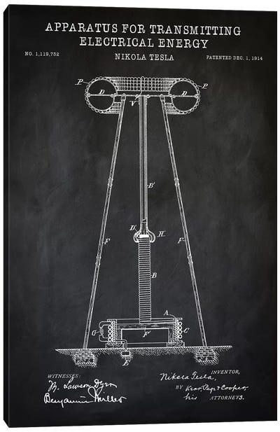 Tesla Apparatus For Transmitting Electrical Energy, Black Canvas Art Print