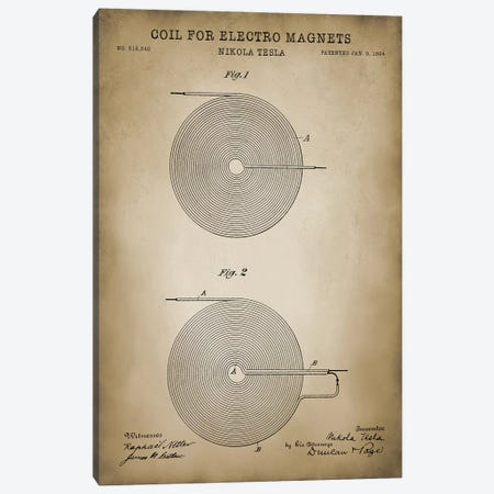 Tesla Coil For Electro Magnets Canvas Print #PAT126} by PatentPrintStore Canvas Artwork