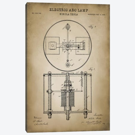 Tesla Electric Arc Lamp Canvas Print #PAT127} by PatentPrintStore Canvas Wall Art